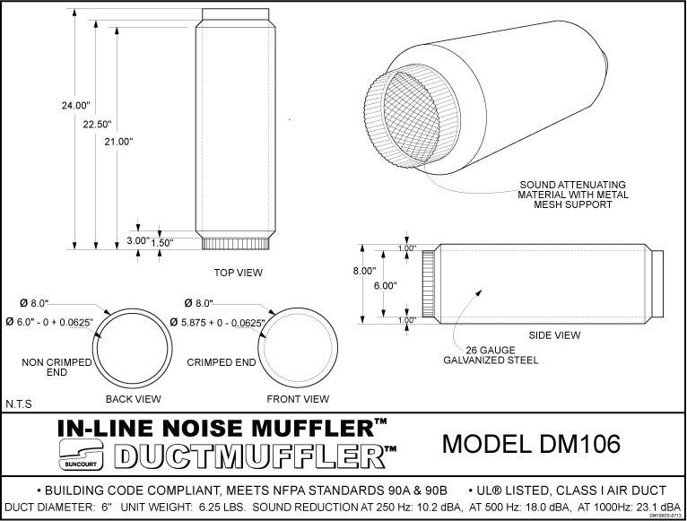 Suncourt Duct Muffler Duct Mufflers  U0026 Silencers