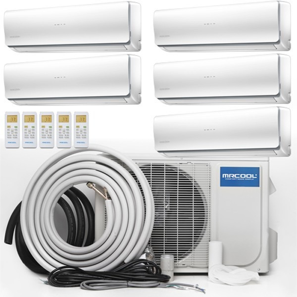MRCOOL Olympus Ductless Split Air Conditioner System with Heat Pump - 5 Zone Wall Mounted with Install Kit, 230V