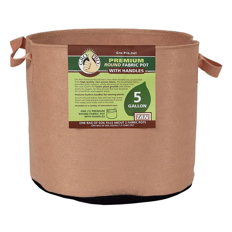 Gro Pro Premium Round Fabric Pot with Handles, 5 Gallon - Tan