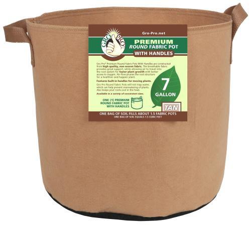 Gro Pro Premium Round Fabric Pot with Handles, 7 Gallon - Tan