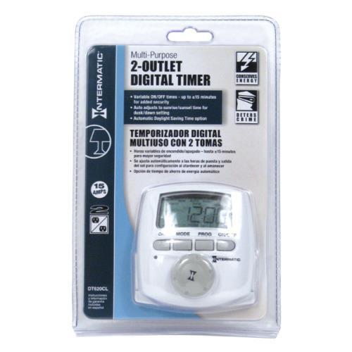 intermatic 2 outlet digital timer dt620cl 120 volt grow. Black Bedroom Furniture Sets. Home Design Ideas