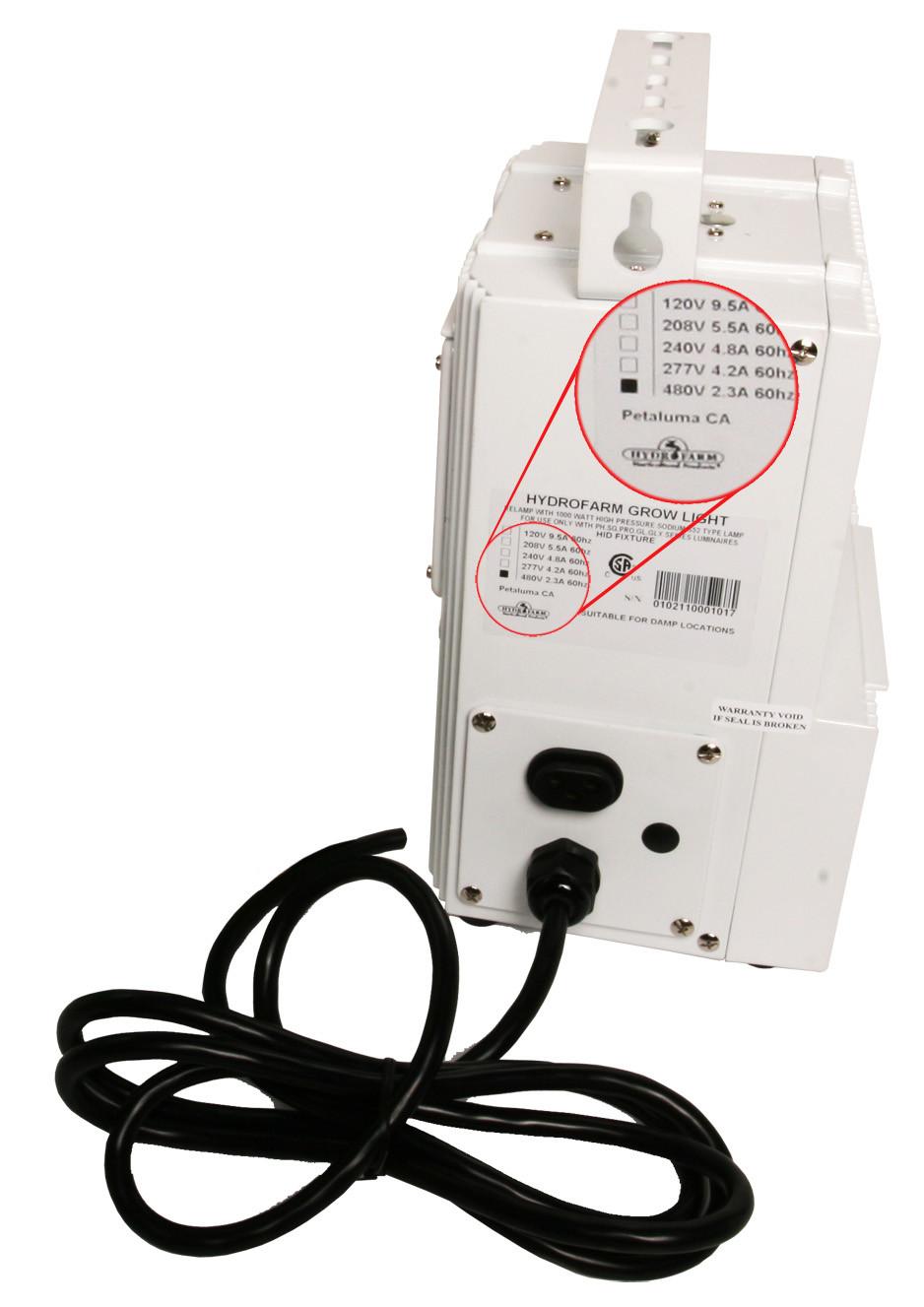 Hydrofarm PowerHouse 1000 Watt Magnetic HPS Ballast, 480 Volt