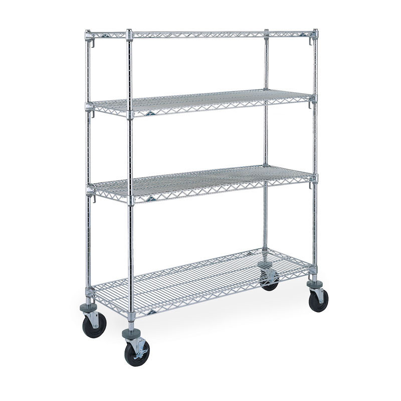 324653aac38 Metro Super Erecta Adjustable 4-Tier Mobile Wire Shelving Unit With Rubber  Casters