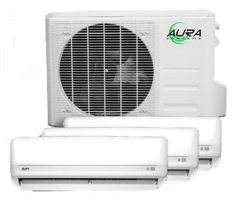 Aura Systems 27,000 BTU Triple Zone Mini-Split Air Conditioner with Triple 9,000 BTU Air handlers & Heat Pump