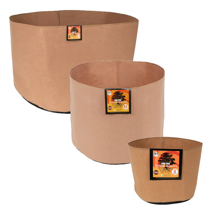 Gro Pro Essential Round Fabric Pot, Tan