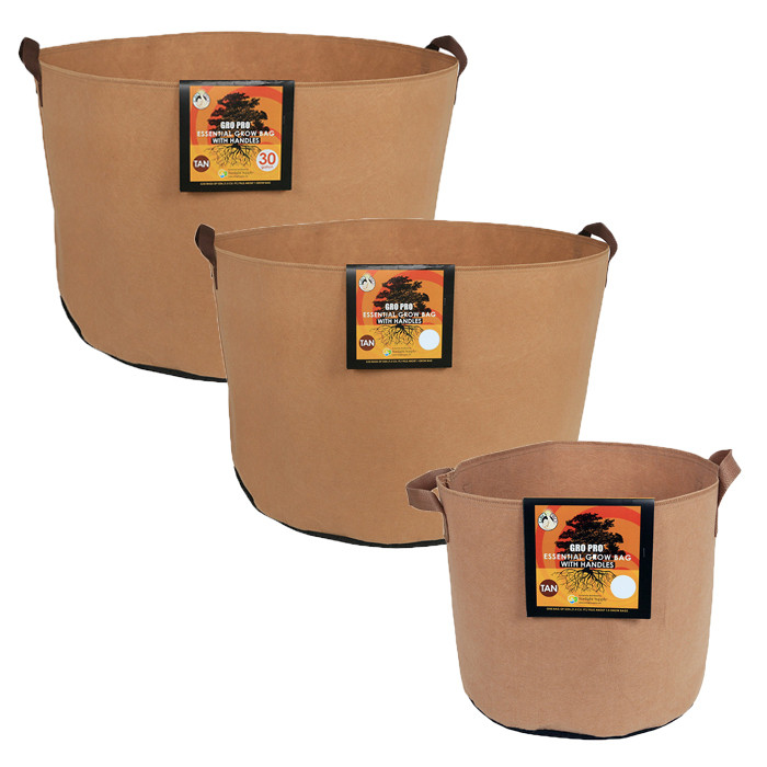 Gro Pro Essential Round Fabric Pot with Handles, Tan