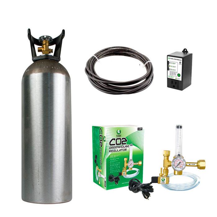 Titan Controls Grow Room CO2 Enrichment Kit (20 lb Tank, Controller,  Regulator, Rain Tubing)