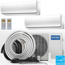 MRCOOL Olympus Ductless Split Air Conditioner System with Heat Pump - 2 Zone Wall Mounted with Install Kit, 230V