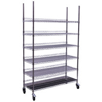 Hydro Flow Commercial Grade Chrome Storage Rack - 6 Shelves with Backstop & Casters