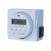 HBX 7-Day Grounded Dual Outlet Digital Timer, 120V