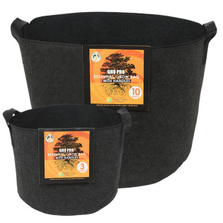 Gro Pro Essential Round Fabric Pot with Handles, Black