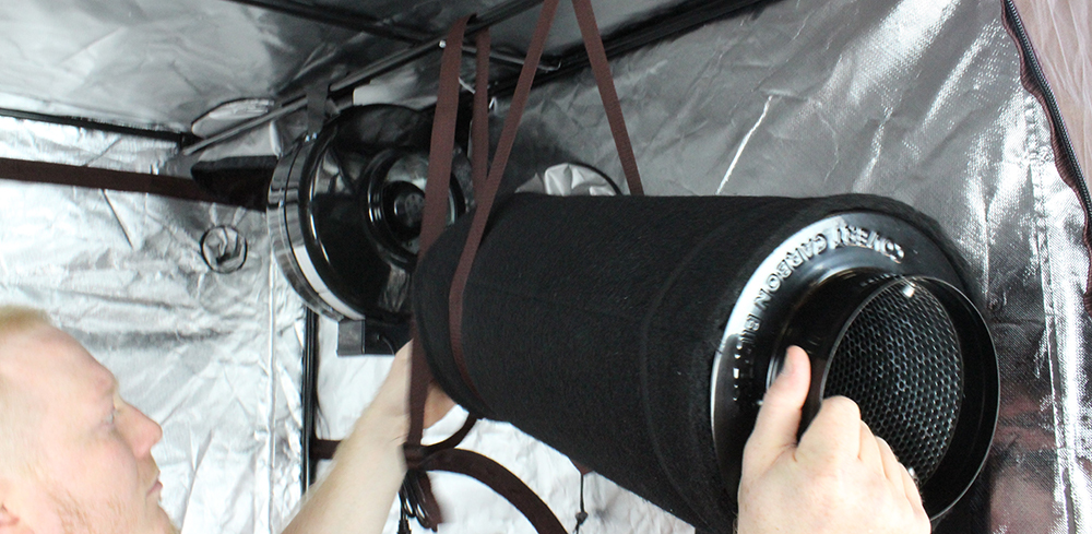 Carbon Filter and inline fan for grow room odor control